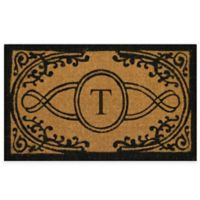 """Nature by Geo Crafts Bristol 22-Inch x 36-Inch Monogrammed Letter """"T"""" Doormat in Natural Black"""