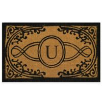 "Nature by Geo Crafts Bristol 22-Inch x 36-Inch Monogrammed Letter ""U"" Doormat in Natural Black"