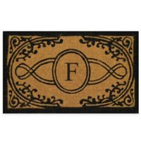 "Nature by Geo Crafts Bristol 30-Inch x 48-Inch Monogrammed Letter ""F"" Door Mat in Natural Black"