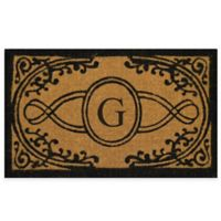 "Nature by Geo Crafts Bristol 30-Inch x 48-Inch Monogrammed Letter ""G"" Door Mat in Natural Black"