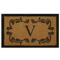 """Nature by Geo Crafts Leaf Bordered 18-Inch x 30-Inch Letter """"V"""" Door Mat in Natural Black"""
