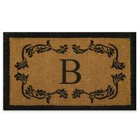 "Nature by Geo Crafts Leaf Bordered 18-Inch x 30-Inch Letter ""B"" Door Mat in Natural Black"