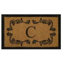 "Nature by Geo Crafts Leaf Bordered 18-Inch x 30-Inch Letter ""C"" Door Mat in Natural Black"