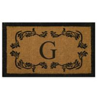 "Nature by Geo Crafts Leaf Bordered 18-Inch x 30-Inch Letter ""G"" Door Mat in Natural Black"