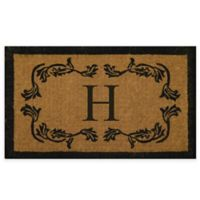 "Nature by Geo Crafts Leaf Bordered 18-Inch x 30-Inch Letter ""H"" Door Mat in Natural Black"