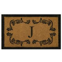 "Nature by Geo Crafts Leaf Bordered 18-Inch x 30-Inch Letter ""J"" Door Mat in Natural Black"