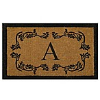 "Nature by Geo Crafts Leaf Bordered 18-Inch x 30-Inch Letter ""A"" Door Mat in Natural Black"