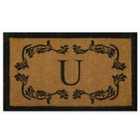 """Nature by Geo Crafts Leaf Bordered 18-Inch x 30-Inch Letter """"U"""" Door Mat in Natural Black"""