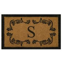 """Nature by Geo Crafts Leaf Bordered 18-Inch x 30-Inch Letter """"S"""" Door Mat in Natural Black"""