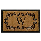 "Nature by Geo Crafts Leaf Bordered 18-Inch x 30-Inch Letter ""W"" Door Mat in Natural Black"