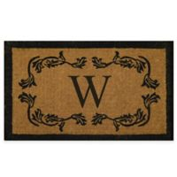 """Nature by Geo Crafts Leaf Bordered 18-Inch x 30-Inch Letter """"W"""" Door Mat in Natural Black"""