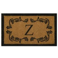 """Nature by Geo Crafts Leaf Bordered 18-Inch x 30-Inch Letter """"Z"""" Door Mat in Natural Black"""