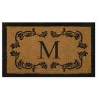 "Nature by Geo Crafts Leaf Bordered 18-Inch x 30-Inch Letter ""M"" Door Mat in Natural Black"