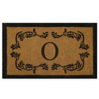 "Nature by Geo Crafts Leaf Bordered 18-Inch x 30-Inch Letter ""O"" Door Mat in Natural Black"