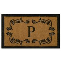 "Nature by Geo Crafts Leaf Bordered 18-Inch x 30-Inch Letter ""P"" Door Mat in Natural Black"