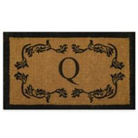"""Nature by Geo Crafts Leaf Bordered 18-Inch x 30-Inch Letter """"Q"""" Door Mat in Natural Black"""