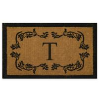 """Nature by Geo Crafts Leaf Bordered 18-Inch x 30-Inch Letter """"T"""" Door Mat in Natural Black"""