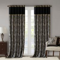 Madison Park Aubrey 108-Inch Rod Pocket Window Curtain Panels in Black