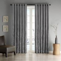 Madison Park Andora 84-Inch Rod Pocket/Back Tab Lined Window Curtain Panel in Charcoal