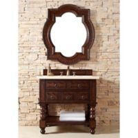 Castilian 36-Inch Aged Cognac Wood Single Vanity with Galala Beige Marble Stone Top