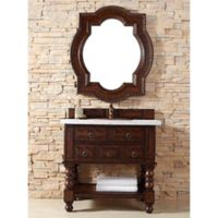 Castilian 36-Inch Aged Cognac Wood Single Vanity with White Carrara Stone Top