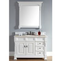 Brookfield 48-Inch Single Vanity with Drawers in Cottage White with Galala Beige Stone Top