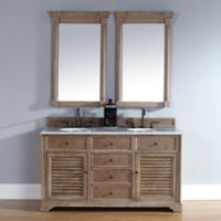 Savannah 60-Inch Driftwood Double Vanity with Drawers and Carrara White Stone Top