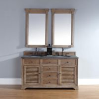 Savannah 60-Inch Driftwood Double Vanity with Drawers and Absolute Black Rustic Stone Top