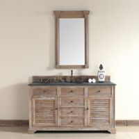 Savannah 60-Inch Driftwood Single Vanity with Drawers and Absolute Black Rustic Stone Top