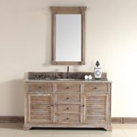 Savannah 59.5-Inch Driftwood Vanity Cabinet Base with Drawers without Countertop