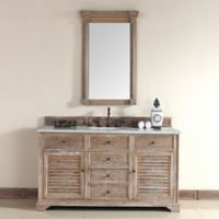 Savannah 60-Inch Driftwood Single Vanity with Drawers and Carrara White Stone Top