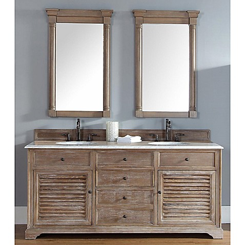 Savannah 71 5 inch driftwood double vanity cabinet with drawers without countertop bed bath for Savannah bathroom accessories