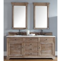 Savannah 71.5-Inch Driftwood Double Vanity Cabinet with Drawers without Countertop