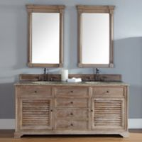Savannah 72-Inch Driftwood Double Vanity with Drawers and Santa Cecilia Stone Top