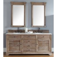 Savannah 72-Inch Driftwood Double Vanity with Drawers and Carrera White Stone Top