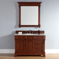 James Martin Furniture Brookfield 48-Inch Warm Cherry Single Vanity with Galala Beige Stone Top