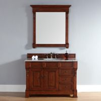 James Martin Furniture Brookfield 48-Inch Warm Cherry Single Vanity with Carrara White Stone Top