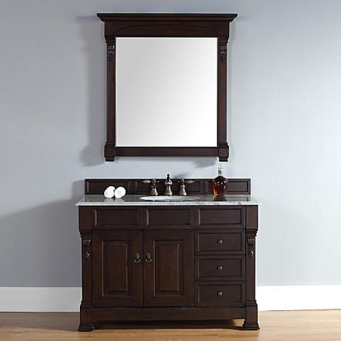 Buy Brookfield 48 Inch Burnished Mahogany Single Vanity W Drawers With Carrera White Stone Top