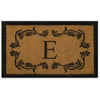 "Nature by Geo Crafts Leaf Bordered 24-Inch x 39-Inch Letter ""E"" Door Mat in Natural Black"