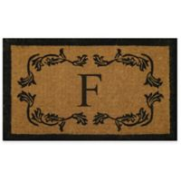 "Nature by Geo Crafts Leaf Bordered 24-Inch x 39-Inch Letter ""F"" Door Mat in Natural Black"