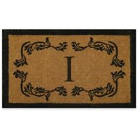 "Nature by Geo Crafts Leaf Bordered 24-Inch x 39-Inch Letter ""I"" Door Mat in Natural Black"
