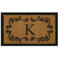 "Nature by Geo Crafts Leaf Bordered 24-Inch x 39-Inch Letter ""K"" Door Mat in Natural Black"
