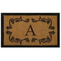 "Nature by Geo Crafts Leaf Bordered 24-Inch x 39-Inch Letter ""A"" Door Mat in Natural Black"