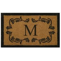 "Nature by Geo Crafts Leaf Bordered 24-Inch x 39-Inch Letter ""M"" Door Mat in Natural Black"