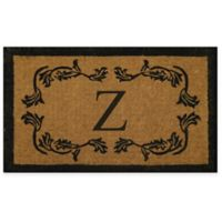 "Nature by Geo Crafts Leaf Bordered 24-Inch x 39-Inch Letter ""Z"" Door Mat in Natural Black"