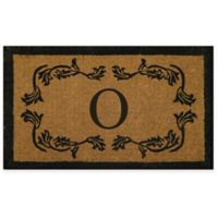 "Nature by Geo Crafts Leaf Bordered 24-Inch x 39-Inch Letter ""O"" Door Mat in Natural Black"