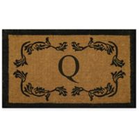 "Nature by Geo Crafts Leaf Bordered 24-Inch x 39-Inch Letter ""Q"" Door Mat in Natural Black"