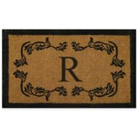 "Nature by Geo Crafts Leaf Bordered 24-Inch x 39-Inch Letter ""R"" Door Mat in Natural Black"