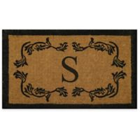 "Nature by Geo Crafts Leaf Bordered 24-Inch x 39-Inch Letter ""S"" Door Mat in Natural Black"