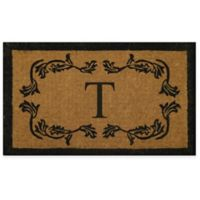 """Nature by Geo Crafts Leaf Bordered 24-Inch x 39-Inch Letter """"T"""" Door Mat in Natural Black"""